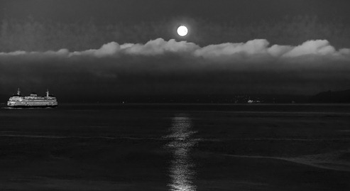 94C0330_Ferry and Full Moon-BW