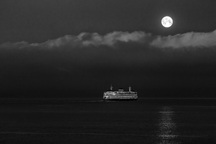 94C0353_Ferry and Full Moon-BW