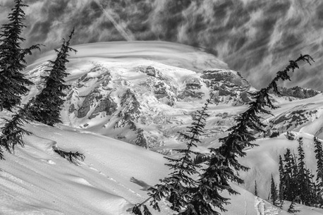 94C3111_Mt Rainier-BW