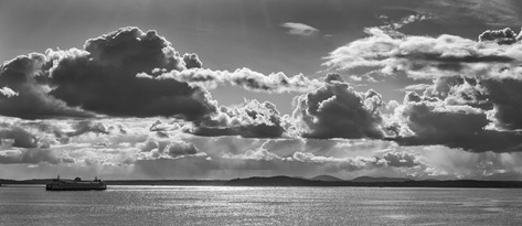94C9594_Late Afternoon Clouds and Ferry Run-BW