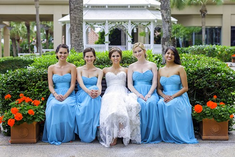 Bride & Bridesmaids Outside