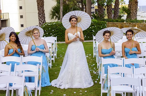 Bride Bridesmaids and Parasols