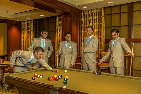 Groomsmen At The Pool Table