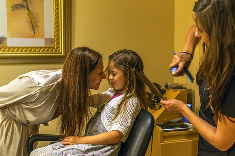 Maegan and Bella at Hairdresser