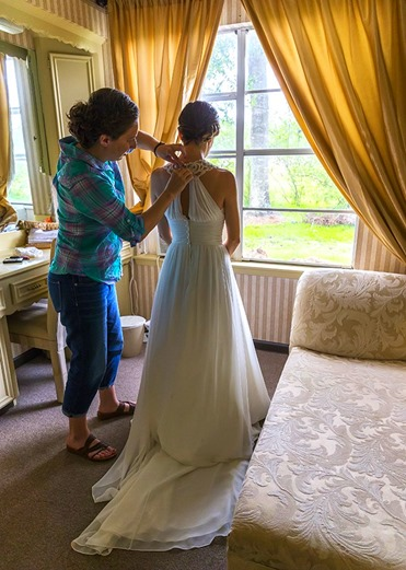 Helping Her With Her Dress