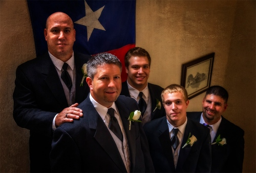 The Groom His Men and Texas Flag