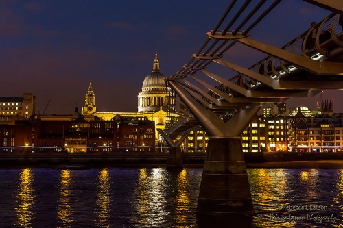 Millennium Bridge And St Pauls Cathedral At Night