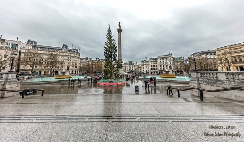 Trafalgar Square On A Rainy Christmas Morning