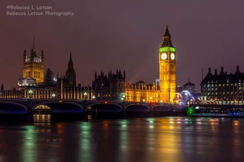 Rainy Christmas Night Over Big Ben
