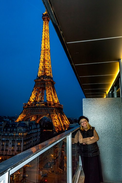 Becky And The Eiffel Tower At Night