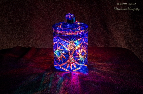 Colored Lights And Blue Glass - Horizontal