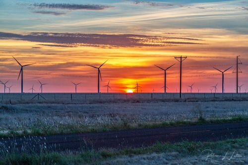 Wind Turbines And A West Texas Sunrise