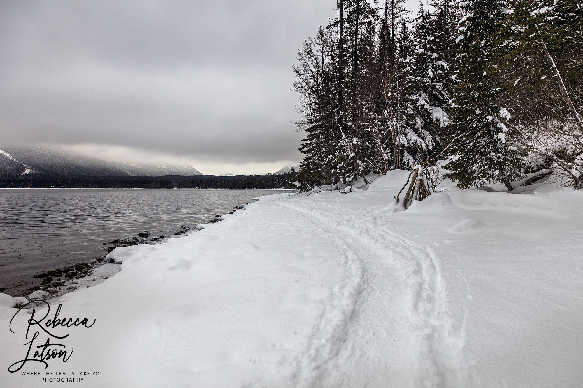 Snow Path Along The Shoreline