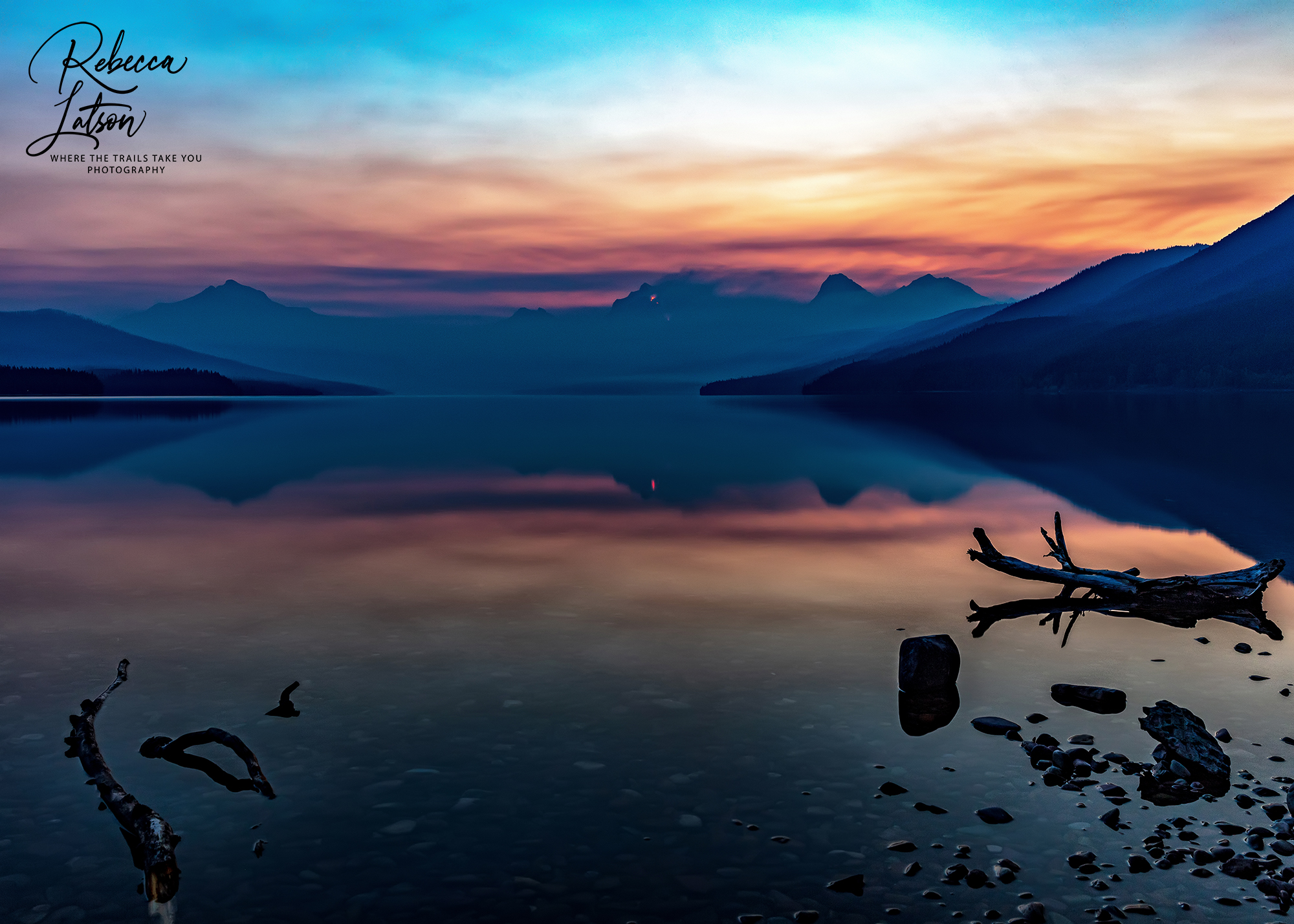 A Forest Fire Sunrise Over Lake McDonald
