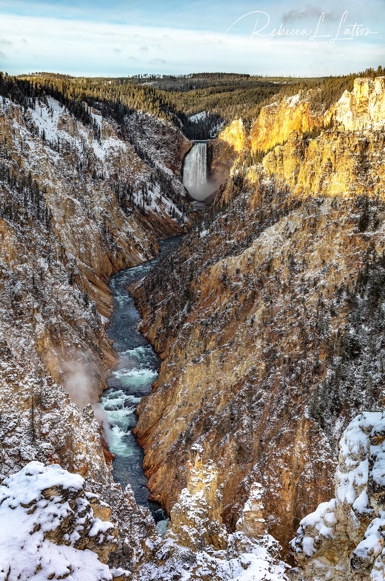 A View Of Lower Falls From Artist Point On A Snowy Day